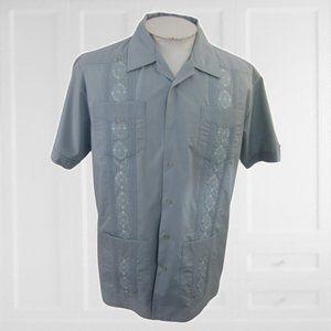 David Taylor Men Shirt GUAYABERA gray L Latin